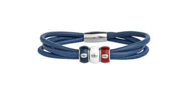 Endless Bracelet 3 brins bleu avec charms Enamel bleu, blanc et rouge