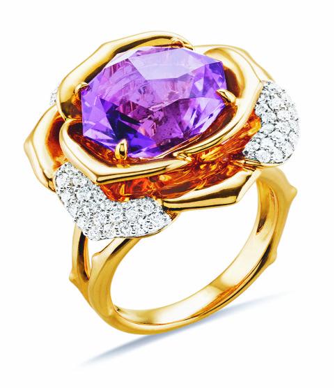Gringoire Joaillier - ROSE - Bague Amethyste rose de France et diamants - BC2318AM-BTS