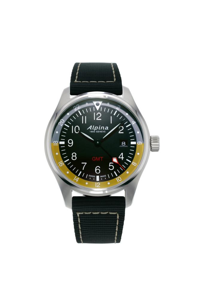 Alpina - Startimer Pilot Quartz GMT - acier - Index jour nuit gris beige -  soldat AL-247BBG4S6