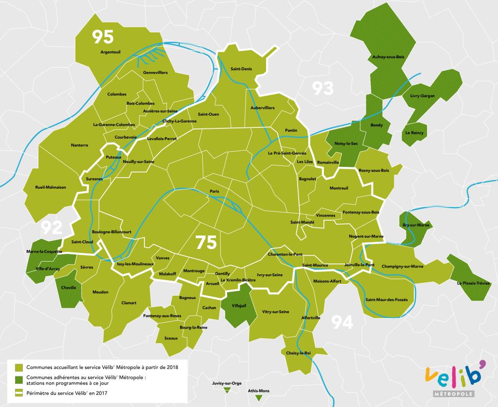 Vélib' Métropole - Carte Communes (oct 2017)
